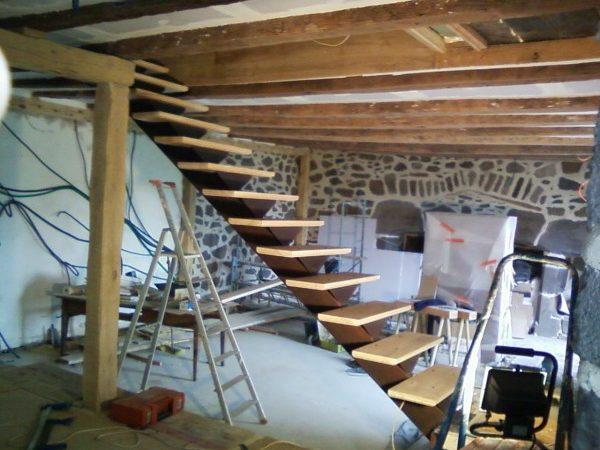 escalier fer bois mauriac
