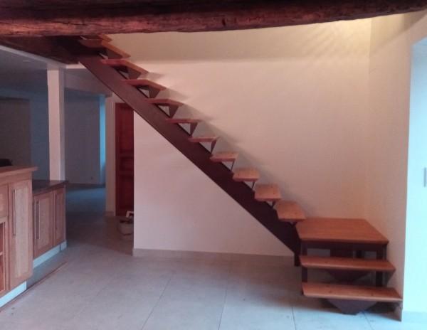 escalier fer bois